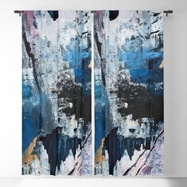 Breathe: colorful abstract in black, blue, purple, gold and white Blackout Curtain
