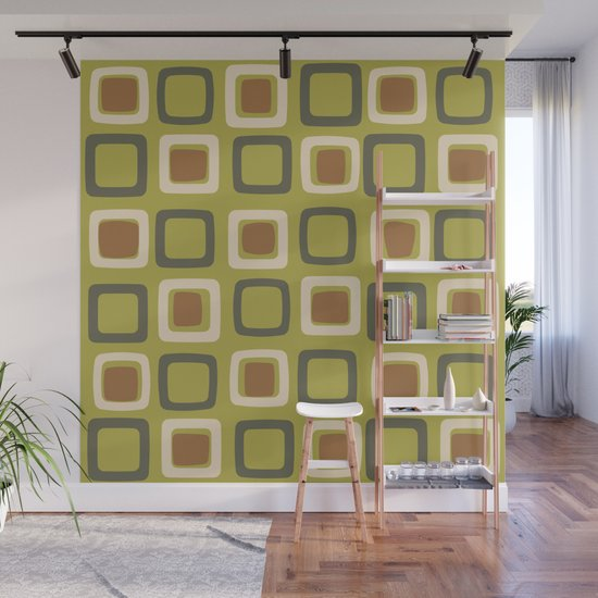 Mid Century Modern Squares Chartreuse by zennykenny