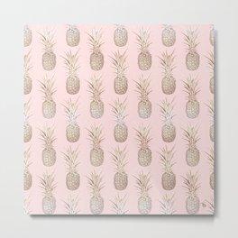 Golden and blush pineapples pattern Metal Print