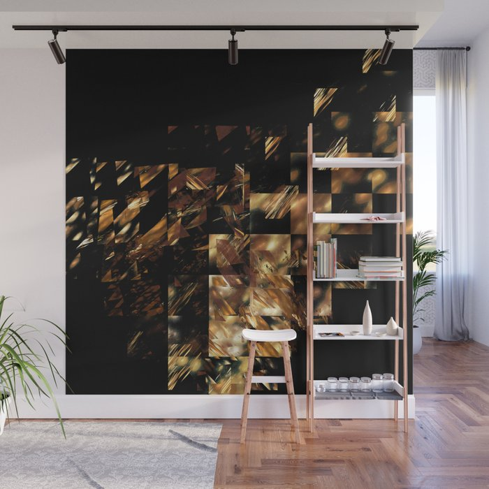 Bronze on Black Square #abstract #society6 #decor #geometry #minimalism Wall Mural