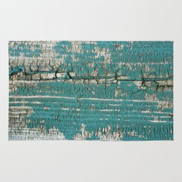 Rustic Wood Turquiose Paint Weathered Rug