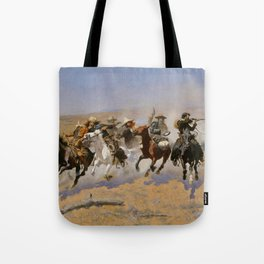 "Frederic Remington Western Art ""Dash For The Timber"" Tote Bag"