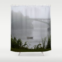 Foggy Fishing Day on the Delaware River Shower Curtain