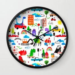 Dinosaur City Watercolor Transportation Pattern Wall Clock