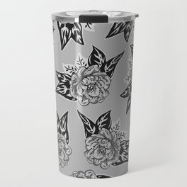 Cabbage Roses in Grey Travel Mug