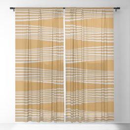 Wavy Stripes // Goldenrod Sheer Curtain