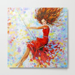 Girl on the swing Metal Print