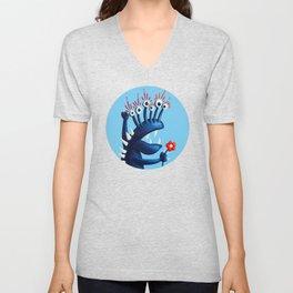 Funny Monster In Blue With Flower Unisex V-Neck