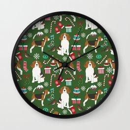 Beagle christmas dog print cute beagle christmas print love beagles Wall Clock