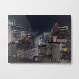 City urban downtown night Metal Print