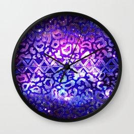 TRIBAL LEOPARD GALAXY Animal Print Aztec Native Pattern Geometric Purple Blue Ombre Space Galactic Wall Clock