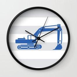 excavator blue Wall Clock