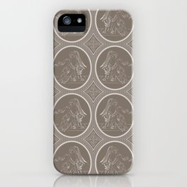 Grisaille Chestnut Brown Neo-Classical Ovals iPhone Case