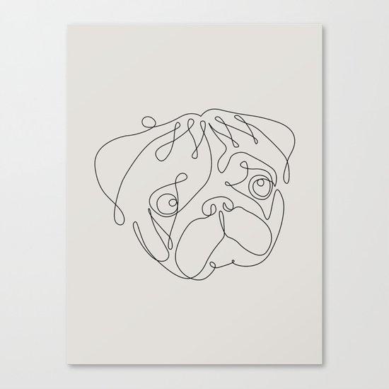 One Line Pug Canvas Print