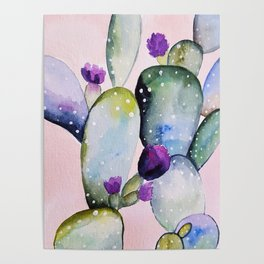 CACTUS WATERCOLOR PAINTING Poster