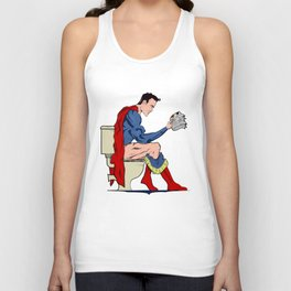 Superhero On Toilet, Restroom, bathroom art Unisex Tank Top
