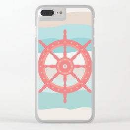 AFE Coral Helm Wheel, Nautical Art Clear iPhone Case
