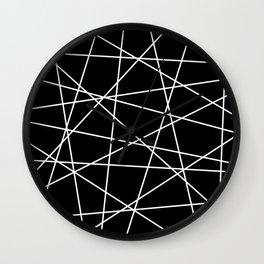 Geometric Lines (white/black) Wall Clock