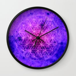 Flower of life Purple and Blue Wall Clock
