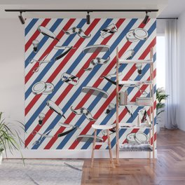 Barber Shop Pattern Wall Mural