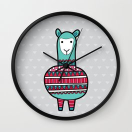 Doodle Alpaca on Grey Triangle Background Wall Clock