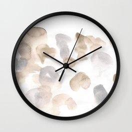180630 Black Brown Neutral Grey Abstract Watercolour 3 | Watercolor Brush Strokes Wall Clock