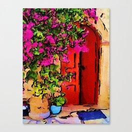 Red Door in Greece Canvas Print