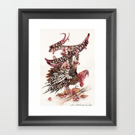 Hand Turkey - Happy Thanksgiving! Framed Art Print