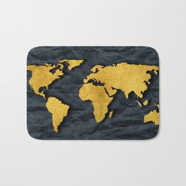 Metallic Gold Leaf Map on paper Bath Mat