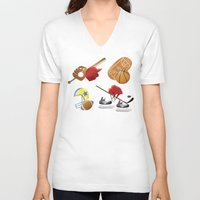 sports V-neck T-shirts featuring sports! by Dues Creatius