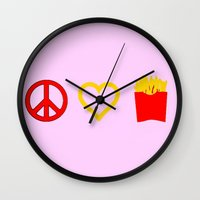 french fries Wall Clocks featuring Peace, Love, French Fries by Bunhugger Design