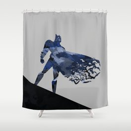Bat Man Dark Blue Hero Knight Comic Digital Brush Shower Curtain