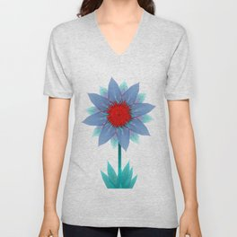 Aqua Bloom Unisex V-Neck