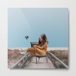 The Girl with the Pearl Selfie Metal Print