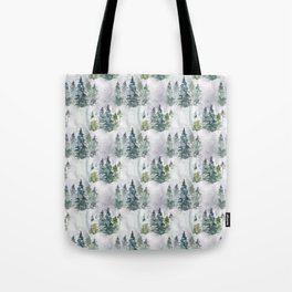 Watercolor forest green snow Christmas pine tree Tote Bag