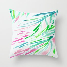 Stripes Swaying Palm Leaves Tree Brushtroke Watercolor Green Blue Throw Pillow
