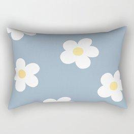 Dusty Blue 60's Retro Flower Power Rectangular Pillow