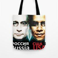 russia Tote Bags featuring Russia  USA by Pavlo Tereshin