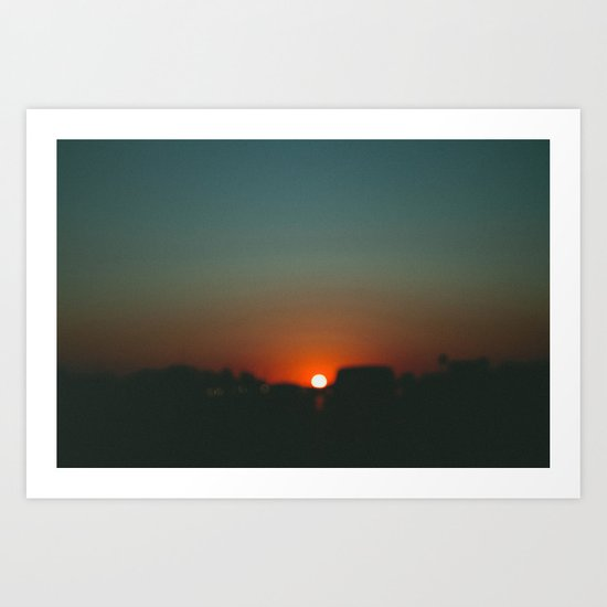 west at sunset Art Print