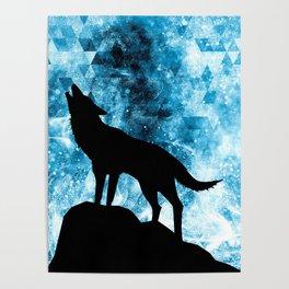 Howling Winter Wolf snowy blue smoke Poster