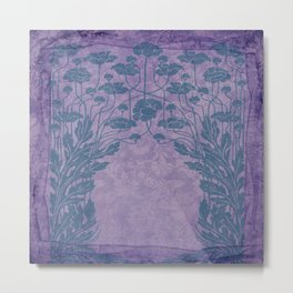 shabby chic, rustic country, floral,pattern,chic,vintage,art nouveau, belle epoque pattern, victorian pattern, timeless style, modern ,trendy,lavender,grey,elegant Metal Print