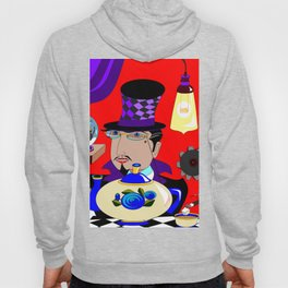 A Steampunk Mad Hattered in Purple with Blue Teapot Hoody
