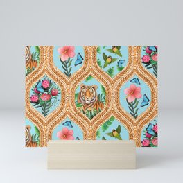 Tiger , protea, hibiscus, palm ogee pattern in watercolor Mini Art Print