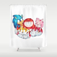 sonic Shower Curtains featuring Sonic Boom by mmishee