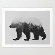 Brown Bear (black & white version) Art Print