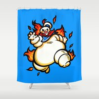 ghostbusters Shower Curtains featuring Stay Puft  by Noodles ^7^
