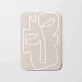 Abstract line art / Face/beige Bath Mat