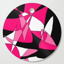 Windy Peaks - Abstract Pinks on Black Cutting Board