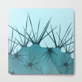 Teal Cactus Close-up Design Metal Print