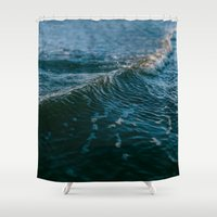 gravity Shower Curtains featuring Gravity by Leah Flores
